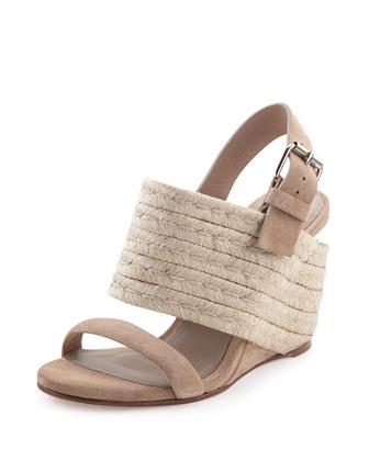 Cata Suede Tile-Heel Wedge Sandal, Ash