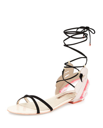 Flamingo Frill Lace-Up Flat Sandal, Heavenly Pink