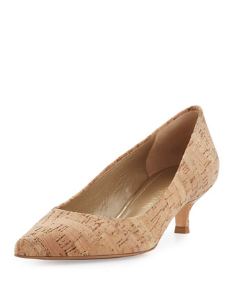 Poco Cork Kitten-Heel Pump, Natural