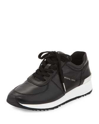 Allie Leather Trainer Sneaker, Black