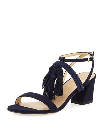 Tassel Mania Suede City Sandal, Nice Blue