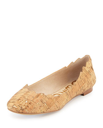Augusta Scalloped Cork Flat, Natural