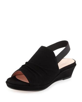 Tiva Suede Slingback Demi-Wedge Sandal, Black
