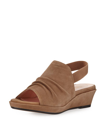 Tiva Suede Slingback Demi-Wedge Sandal, Quinoa