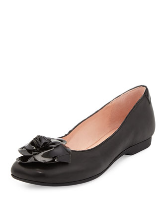 Berndt Flower Leather Ballerina Flat, Black