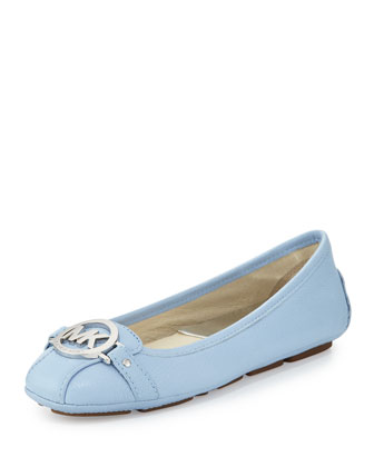 Fulton Tumbled Leather Moccasin, Light Sky