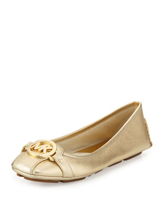 Fulton Saffiano Leather Moccasin, Pale Gold