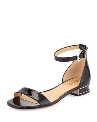 Joy Patent Flat Sandal, Black