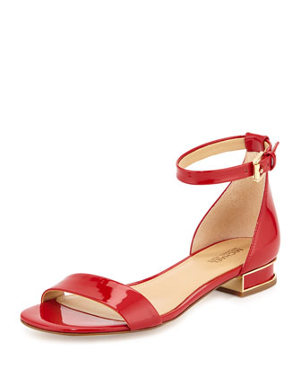 Joy Patent Flat Sandal, Red