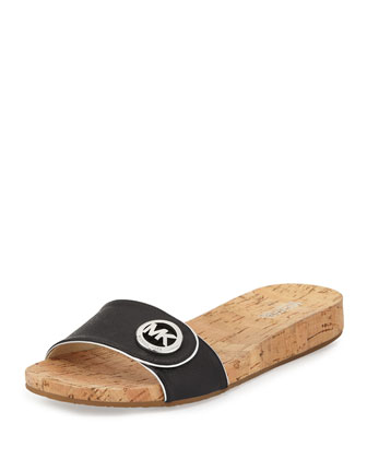 Lee Leather Slide Sandal, Black