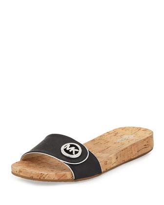Lee Leather Slide Sandal, Black