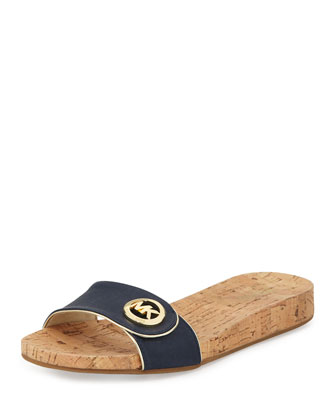 Lee Leather Slide Sandal, Navy