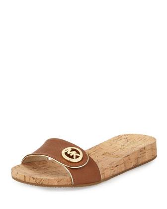 Lee Leather Slide Sandal, Luggage