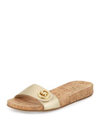 Lee Leather Slide Sandal, Pale Gold