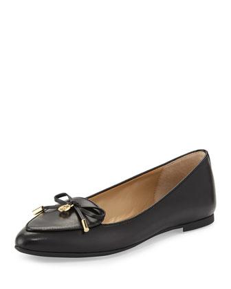 Nancy Leather Bow Flat, Black