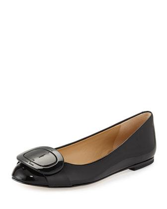 Pauline Patent Ballerina Flat, Black