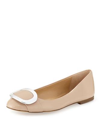 Pauline Patent Ballerina Flat, Light Blush