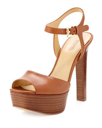Trish Leather Platform Sandal, Luggage