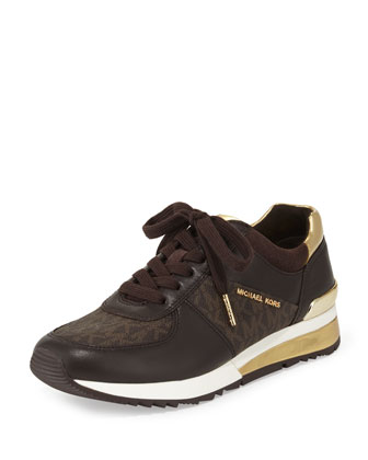 Allie Wrap Leather Sneaker, Brown
