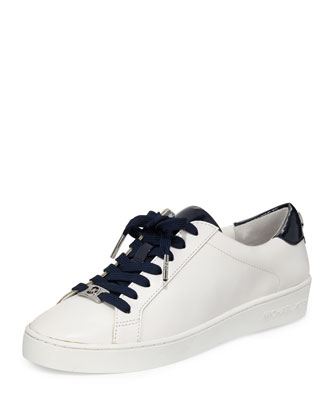 Irving Leather Lace-Up Sneaker, Optic White/Navy