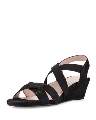 Spiro Strappy Demi-Wedge Sandal, Black