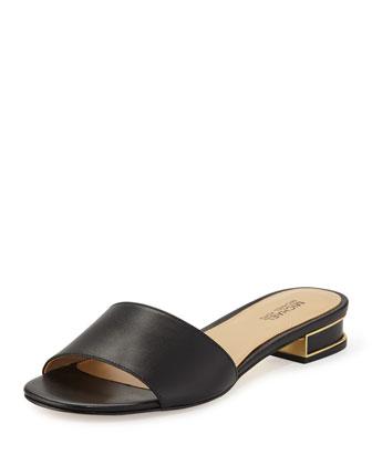 Joy Leather Slide Sandal, Black