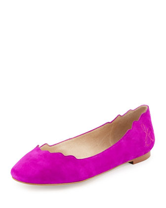 Augusta Scalloped Suede Flat, Fuchsia