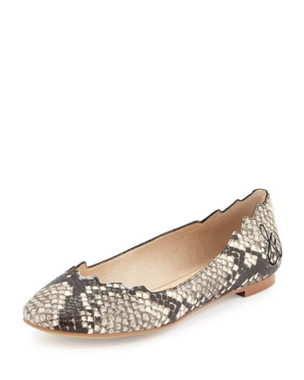 Augusta Scalloped Snake-Embossed Ballet Flat, Putty