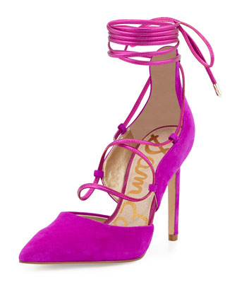 Dayna Suede Lace-Up Pump, Fuchsia