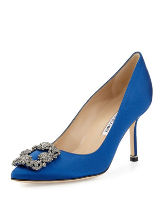 Hangisi Satin Crystal-Toe 70mm Pump, Cobalt