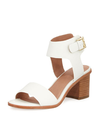 Bea Leather Mid-Heel City Sandal, Porcelain