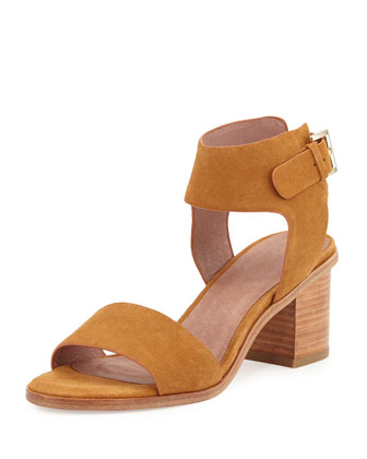 Bea Suede Mid-Heel City Sandal, Whiskey