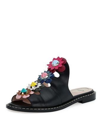 Floral-Appliqué Leather Mule Sandal, Nero/Multi