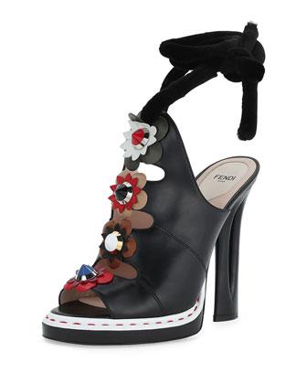 Floral-Appliqué Ankle-Wrap High-Heel Sandal, Nero/Multi