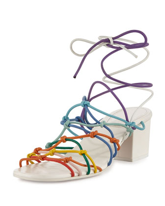 Knotted Ankle-Wrap Sandal, Multicolor