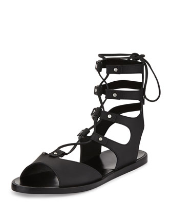 Niva Leather Lace-Up Flat Gladiator Sandal, Black