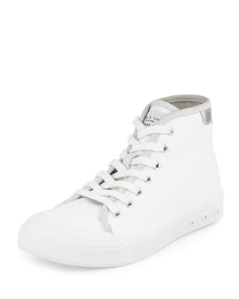 Standard Issue Canvas High-Top Sneaker, White/Silver