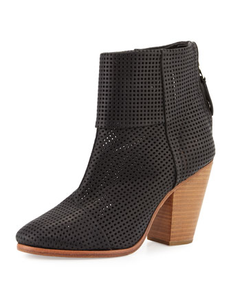 Classic Newbury Perforated Bootie, Black