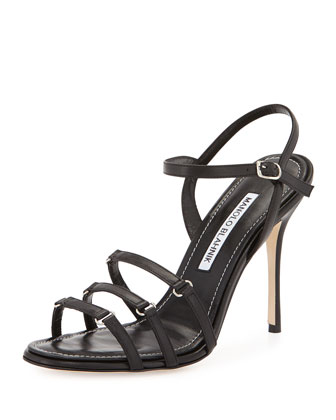 Maggio Strappy Leather Sandal, Black