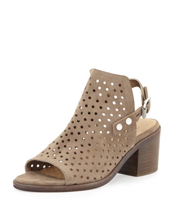 Wyatt Perforated Mid-Heel City Sandal, Warm Gray
