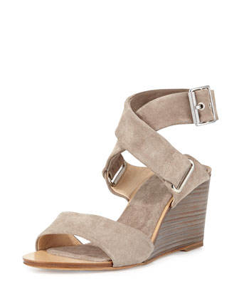Damien Suede Wedge Sandal, Warm Gray