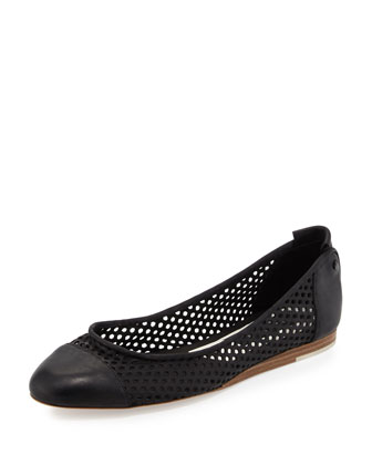 Sybil Perforated Leather Ballerina Flat, Black