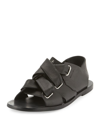 Elda Leather Corset Sandal, Black