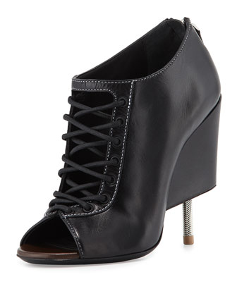 Nissa Lace-Up Screw-Heel Bootie, Black