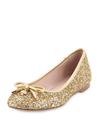 willa glitter ballerina flat, gold