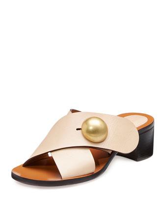 Button Crisscross Leather Slide Sandal, Fawn
