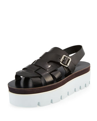 Caged Leather Platform Sandal, Black