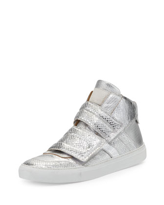 Metallic Snake-Embossed High-Top Sneaker, Silver