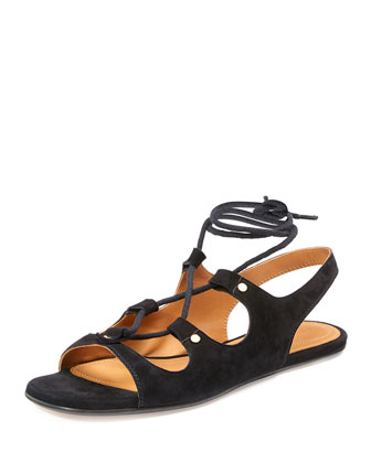 Lace-Up Slingback Gladiator Sandal, Black