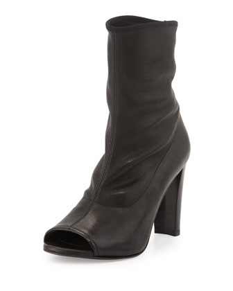 Koko Leather Open-Toe Bootie, Nero